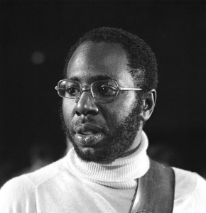 Black and white head-shot of Curtis Mayfield