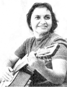 Black and white photo of Violette Parra.