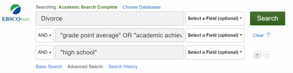 A screenshot of the search statement entered into EBSCO's advanced search using Boolean drop down boxes