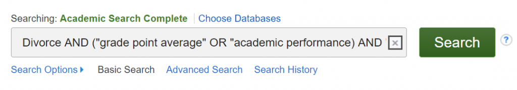 A screenshot of a search statement in EBSCO's basic search with Boolean AND, OR, phrase searching, and nesting illustrated