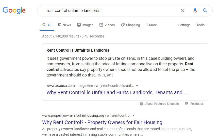"""Google search for """"is rent control unfair to landlords"""" shows top result titled """"Why Rent Control is Unfair and Hurts Landlords"""""""