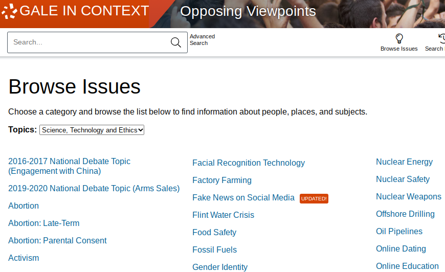"""The Opposing Viewpoints """"Browse Issues"""" page has links to topics of social debate like Fake News and Offshore Drilling"""