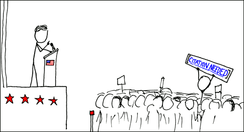 """Comic depicting one person speaking from a stage, while sometime in the audience holds up a sign that says """"citation needed"""""""