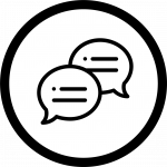 Conversation icon showing two speech bubbles with writing