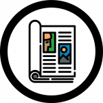 Magazine icon shows short text and colorful images