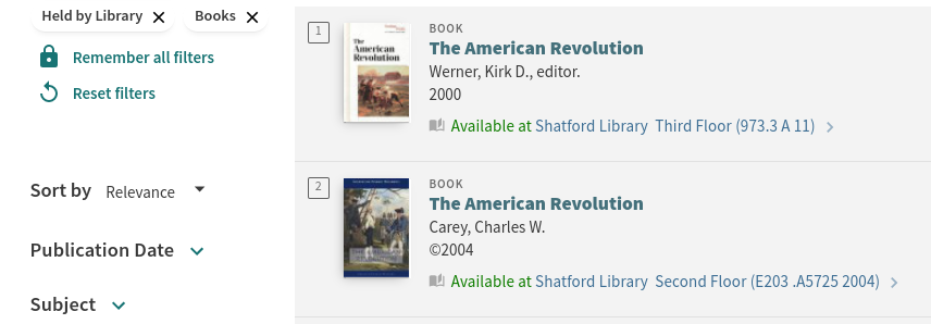 OneSearch results showing two American Revolution books with their availability status.