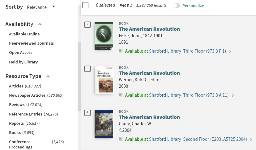 A list of search results in OneSearch displaying search filters and items for the American Revolution.