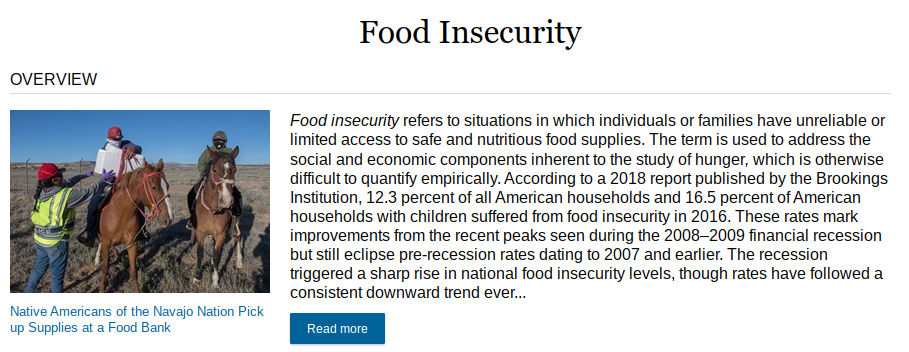 """A topic page on food insecurity in the Opposing Viewpoints database shows an """"overview"""" section with a link to read more"""