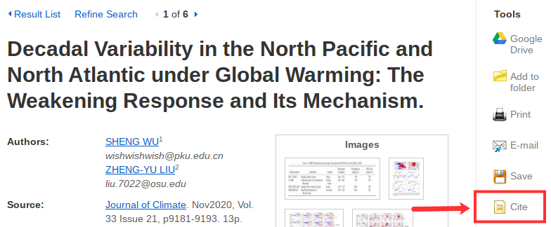 """A screenshot of a journal article in EBSCO with the """"Cite"""" tool highlighted on the right menu"""