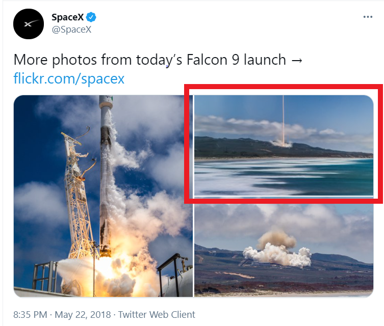 Tweet from SpaceX shows one of the supposed laser images is actually a rocket launch
