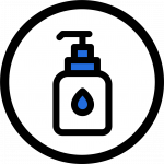 Icon showing bottle of hand sanitizer