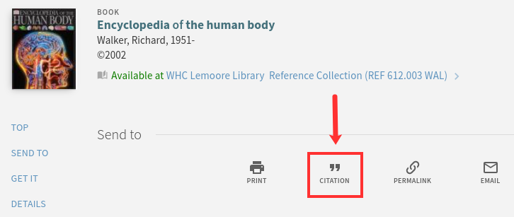 """OneSearch result shows a """"Citation"""" option below item info"""