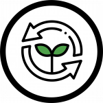 Icon showing recycle/reuse logo and a green sprout