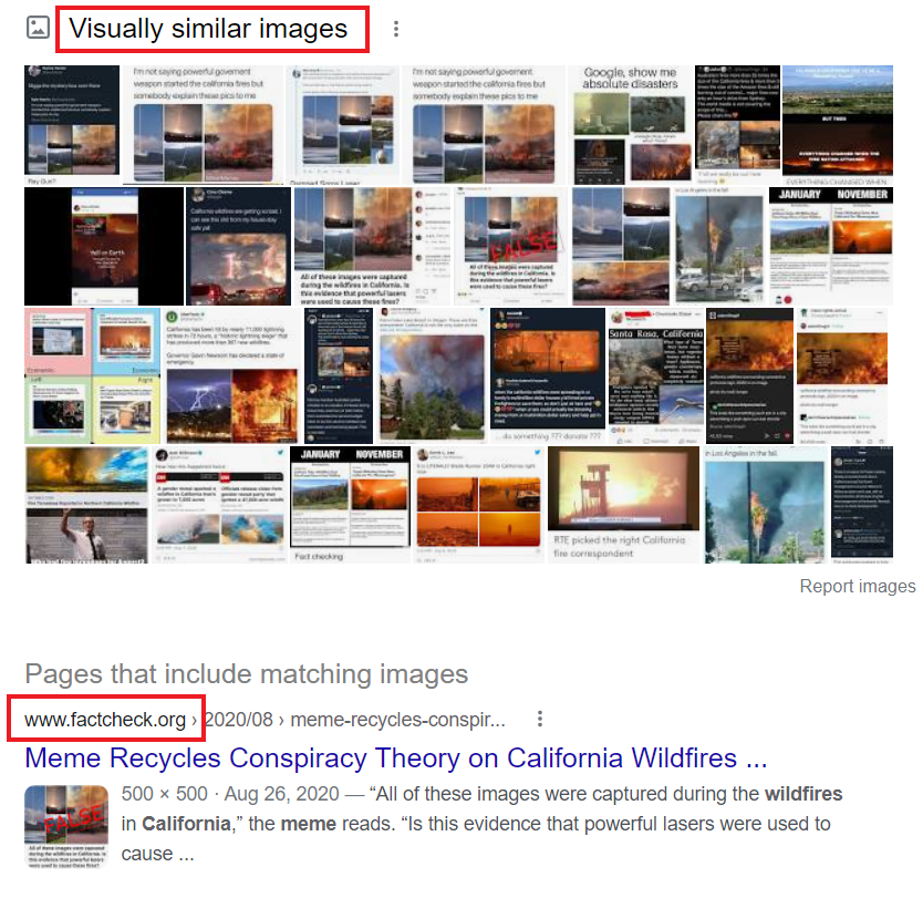 Google reverse image search results show visually similar images and a fact-check of the meme from factcheck.org
