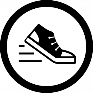 Sneaker in the running position