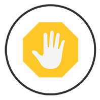 """SIFT icon for """"stop"""" shows hand over stop sign"""