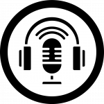 Podcast icon shows a microphone surrounded by headphones