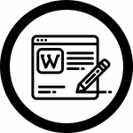 Icon for wiki shows a web page with a pencil adding writing to it