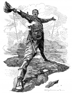 Image of Rhodes standing on the continent of Africa
