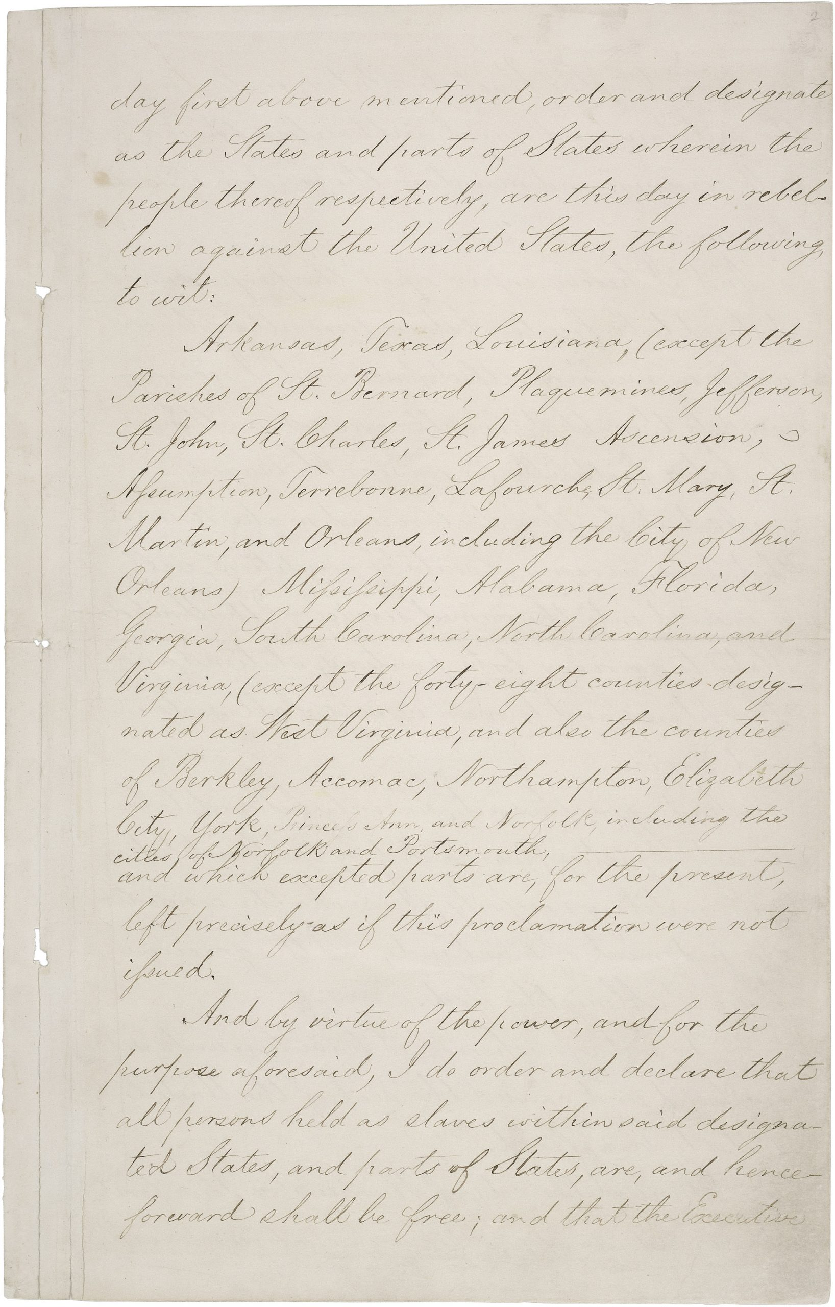 Image of third page of Emancipation Proclamation.