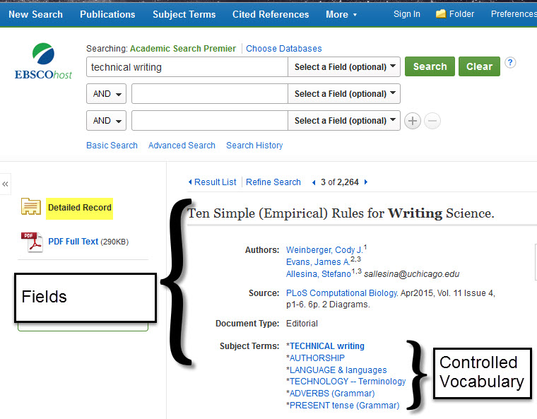 Examples of fields and controlled vocabulary in a library database