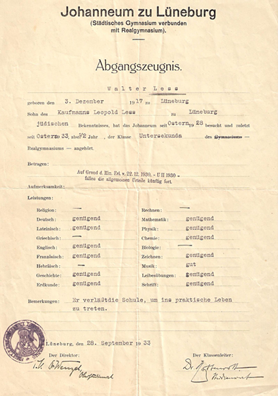 Lüneburg, Walter Less, Johanneum Gymnasium, report card 1933 – EBook Margaret A. McQuillan: An Orange in Winter / The Beginning of the Holocaust as Seen through the Eyes of a Child