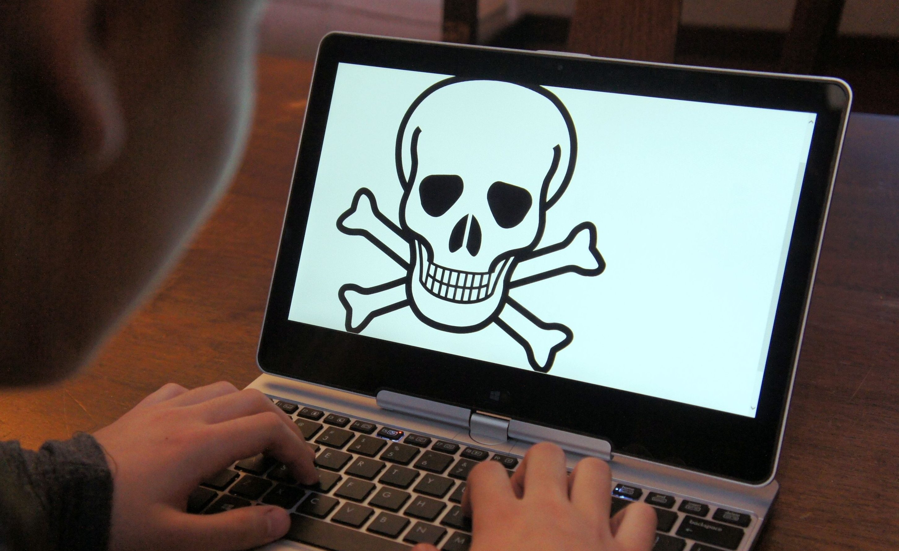 A child at a laptop with a skull and crossbones on the screen