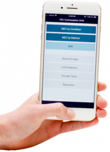 hand with phone open to CDC app