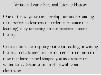 One of the ways we can develop our understanding of ourselves as learners (in order to enhance our learning) is by reflecting on our personal literate history. Create a timeline mapping out your reading or writing history. Include memorable moments from birth to now that have helped shape you as a reader or writer today.