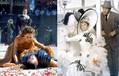 side by side movie shots, one with a fallen gladiator and Roman-era clothes, the other with a woman in Victorian-era frilly dress