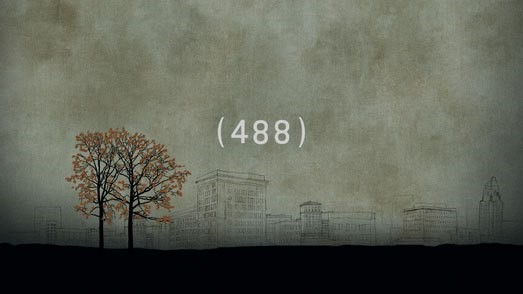 dying trees, gray sky, number 488 centered