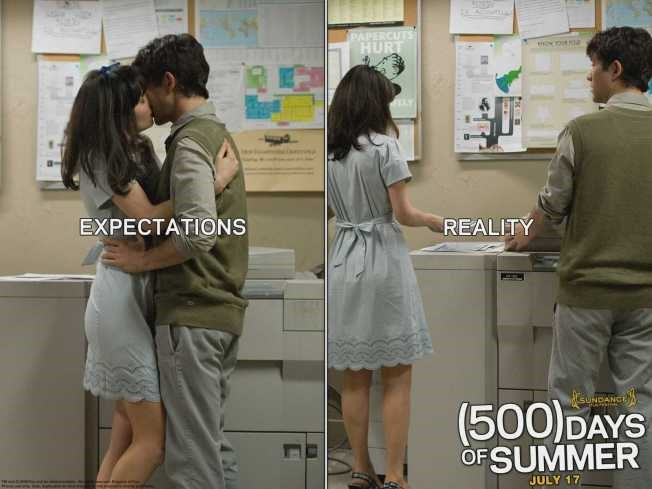 couple kissing by copy machine on left, ignoring each other on right