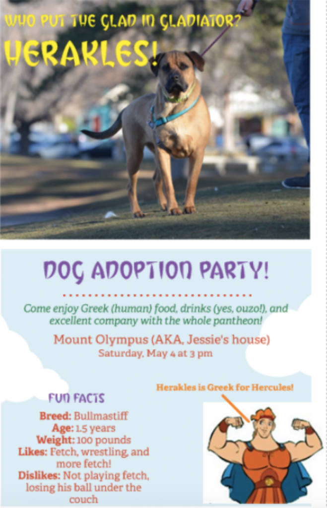 "An invite for a dog adoption part. The image is a bull mastiff, he's standing large at attention, staring at the viewer, and looks strong. Under fun facts about the dog it reads: ""100 pounds. Likes wrestling and playing fetch."""