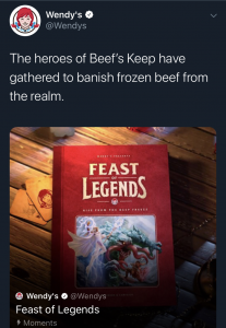 "Screenshot of Wendy's Twitter post describing their ""Feast of Legends"" campaign stating their food is never frozen"