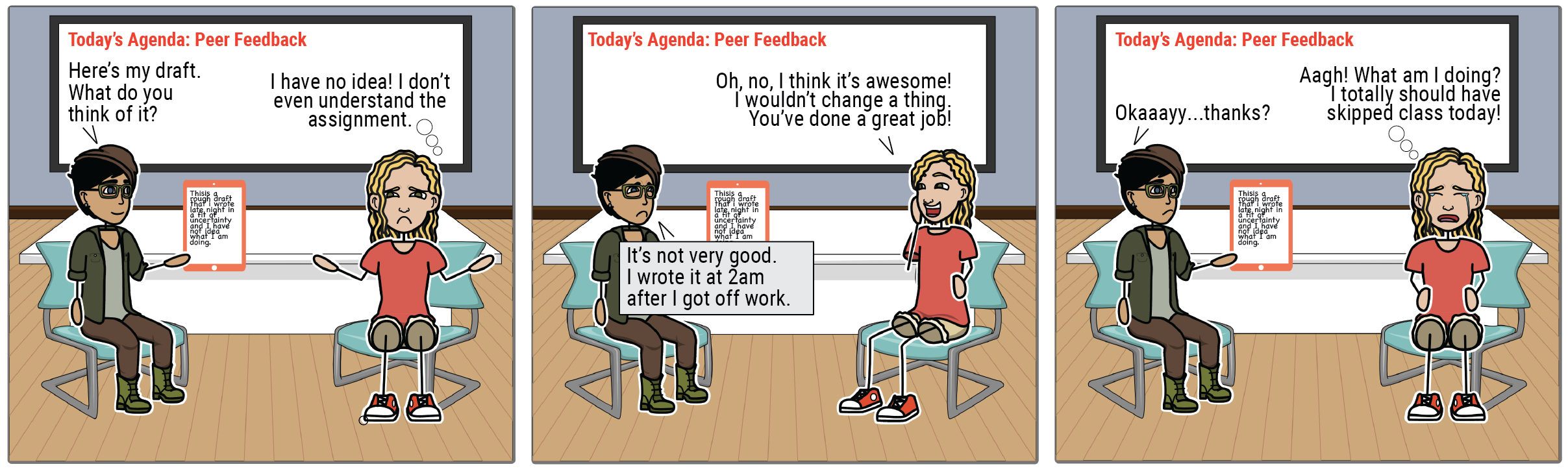 """A comic strip shows two students engaging in peer feedback. The first student asks, """"What do you think of my draft?"""" The second student responds, """"I have no idea. I don't even understand the assignment."""" Student 1 says, """"It's not very good. I wrote it at 2am after I got off work."""" Student 2: """"Oh, no, I think it's awesome. I wouldn't change a thing. You've done a great job!"""" Student 1: """"Okaaaaay, thanks?"""" Student 2: """"Aagh! What am I doing? I totally should have skipped class today."""""""