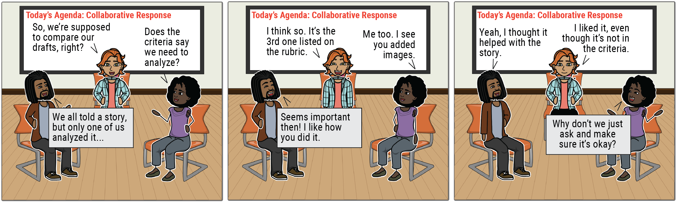 """A comic strip shows three students in collaborative response. Student 1: """"So, we're supposed to compare our drafts, right?"""" Student 2: """"We all told a story, but only one of us analyzed it."""" Student 3: """"Does the criteria say we need to analyze?"""" Student 1: """"I think so. It's the third one listed on the rubric."""" Student 2: """"Seems important then. I like you you did it."""" Student 3: """"Me too. I see you added images."""" Student 2: """"Yeah, I thought it helped with the story."""" Student 1: """"I liked it, even though it's not on the criteria."""" Student 3: """"Why don't we just ask and make sure it's okay?"""""""