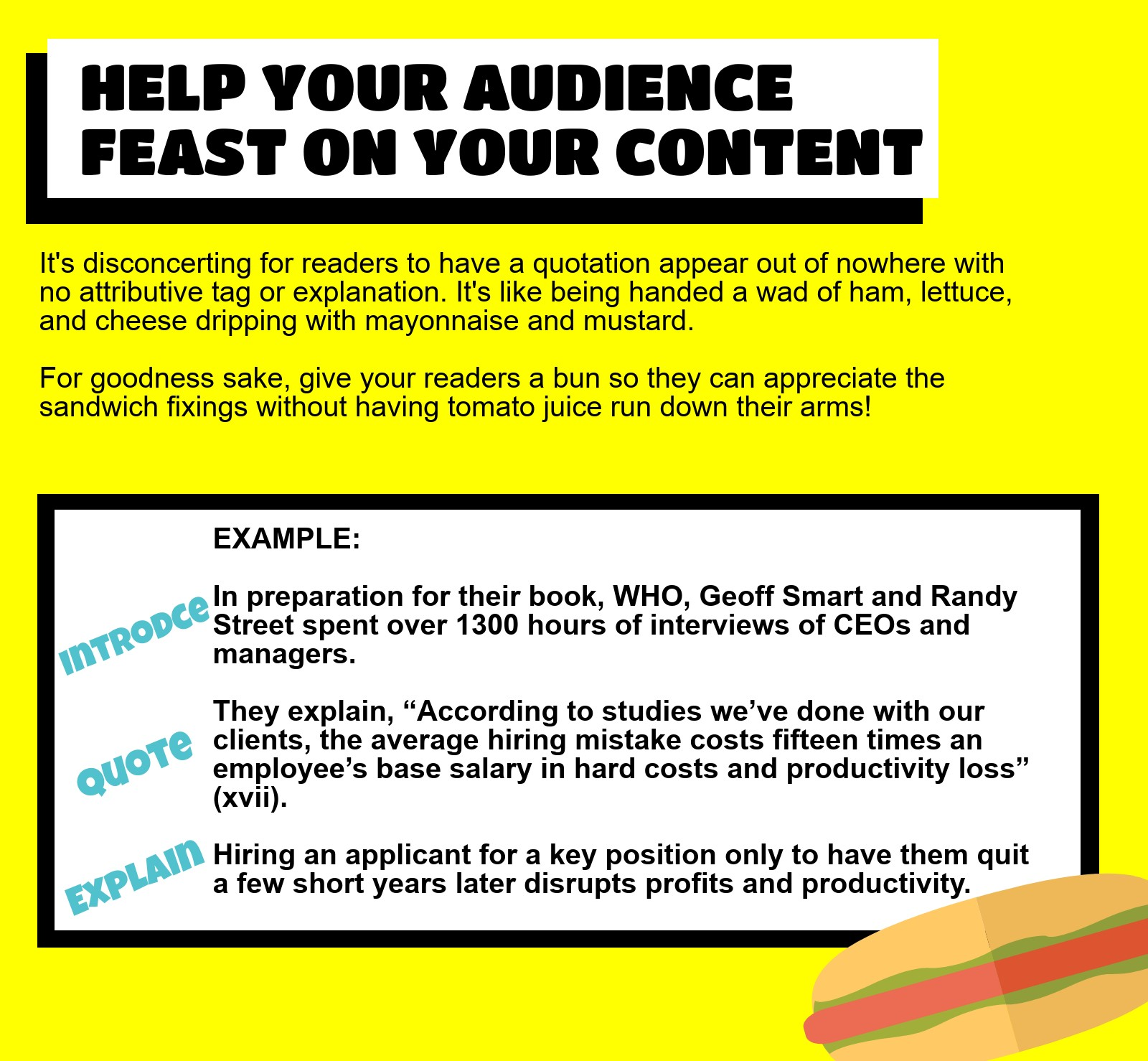 """A graphic reiterates: """"Help your audience feast on your content. It's disconcerting for readers to have a quotation appear out of nowhere with no attributive tag or explanation. It's like being handed a wad of ham, lettuce, and cheese dripping with mayonnaise and mustard. For goodness sake, give your readers a bun so they can appreciate the sandwich fixings without having tomato juice run down their arms! Example: INTRODUCE In preparation for their book, Who, Geoff Smart and Randy Street spent over 1300 hours of interviews of CEOs and managers. QUOTE They explain, 'According to studies we've done with our clients, the average hiring mistake costs fifteen times an employee's base salary in hard costs and productivity loss.' EXPLAIN Hiring an applicant for a key position only to have them quit a few short years later disrupts profits and productivity."""""""