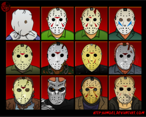 image of 12 different Jason masks from the Friday the 13th series