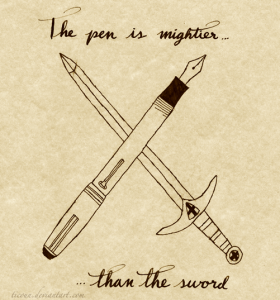 """a sketch of a pen and a sword crossed, their sizes equal, and reading """"The pen is mightier than the sword"""""""