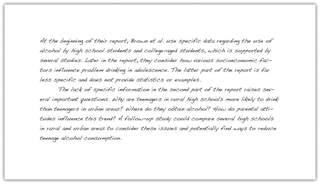 Take a look at a student's analysis of the journal report