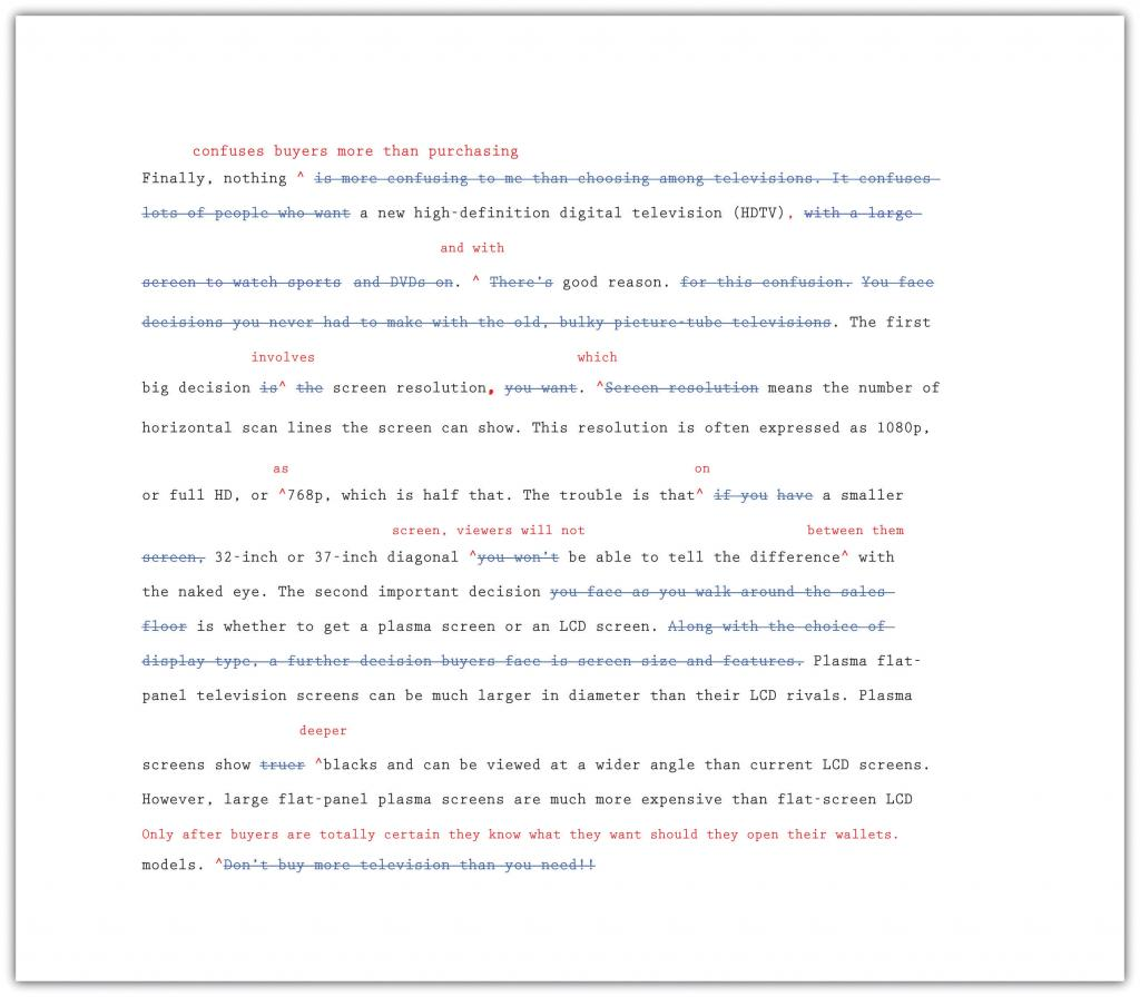 A marked up essay with revisions