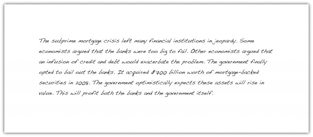 Naomi's essay on the government bailout