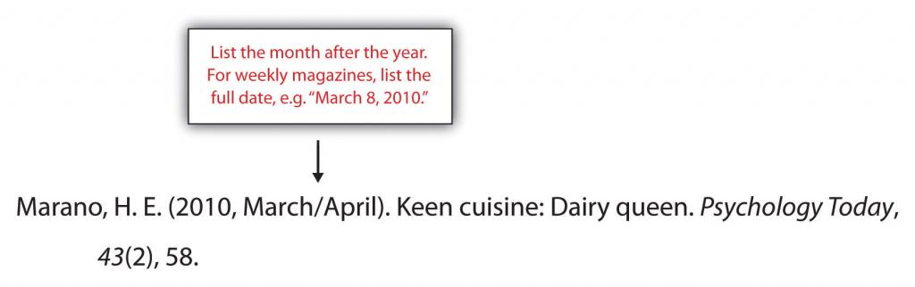 When creating a references section, oist the month after the year. For weekly magazines, list the full date, e.g.