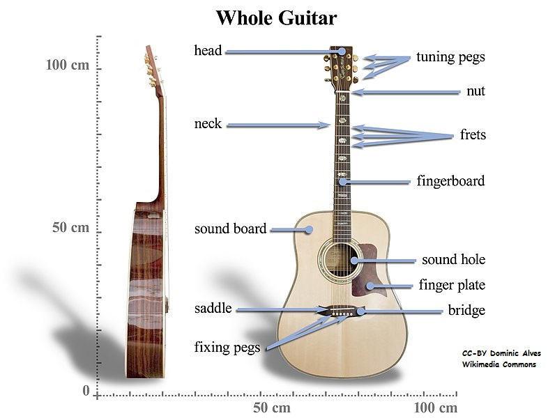 Side and front views of an acoustic guitar